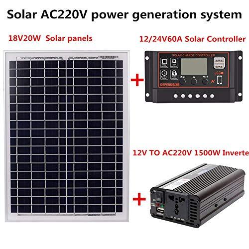 Adminitto88 Sistema de generación de energía Solar – AC220V 1500W 18V20W Panel Solar + Controlador Solar + Equipo…