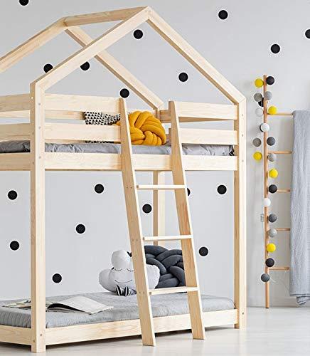 Best For Kids Hausbett Hochbett OTTA Kinderbett Kinderhaus Jugendbett Natur Haus Holz Bett in viele Größen 70x140cm-90x200cm(80x200cm)