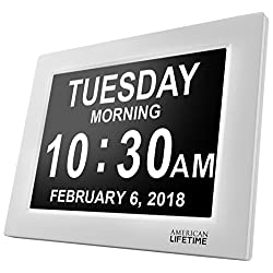 American Lifetime [Newest Version] Day Clock - Extra Large Impaired Vision Digital Clock with Battery Backup & 5 Alarm Options - White