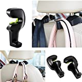 Tera Universal Car Back Seat Headrest Hanger Holder Hook for Bag Purse Cloth Grocery 2PC (Black)