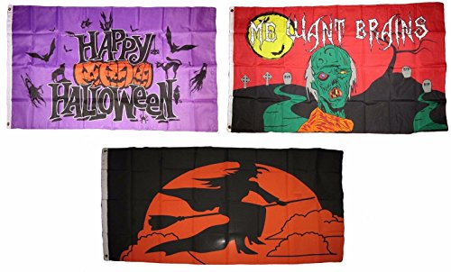 MWS 3x5 Happy Halloween 3 Pack Flag Wholesale Set #109 Combo 3'x5' Banner Grommets