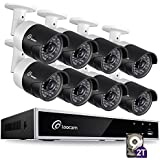 Loocam 1080p HD Surveillance Security Camera System 8-Channel DVR with 2TB Hard Drive 8 x 2.0MP 1920TVL IP67 Weatherproof Indoor/Outdoor Automatic 150ft Predator Night Vision and Motion Detection