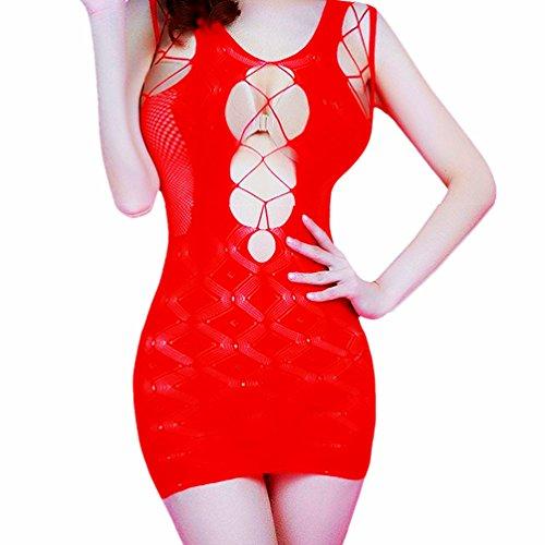 7f7eec74a8 Daisland Women Sexy Lingerie Sleepwear Nightwear Fishnet Bodysuit  Bodystocking (Red 0430) - Buy Online in UAE.