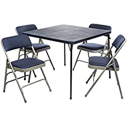 XL Series Folding Card Table and Fabric Padded Chair Set (5pc) - Comfortable Padded Upholstery - Fold Away Design, Quick Storage and Portability - Premium Quality (Navy Blue, Navy/Grey)