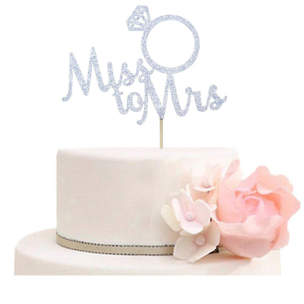 Amazon Miss To Mrs With Diamond Ring Cake Topper For Bridal Shower Wedding Engagement Party Decorations Silver Glitter Toys Games: Cake Topper Wedding Silver Diamond Ring At Websimilar.org