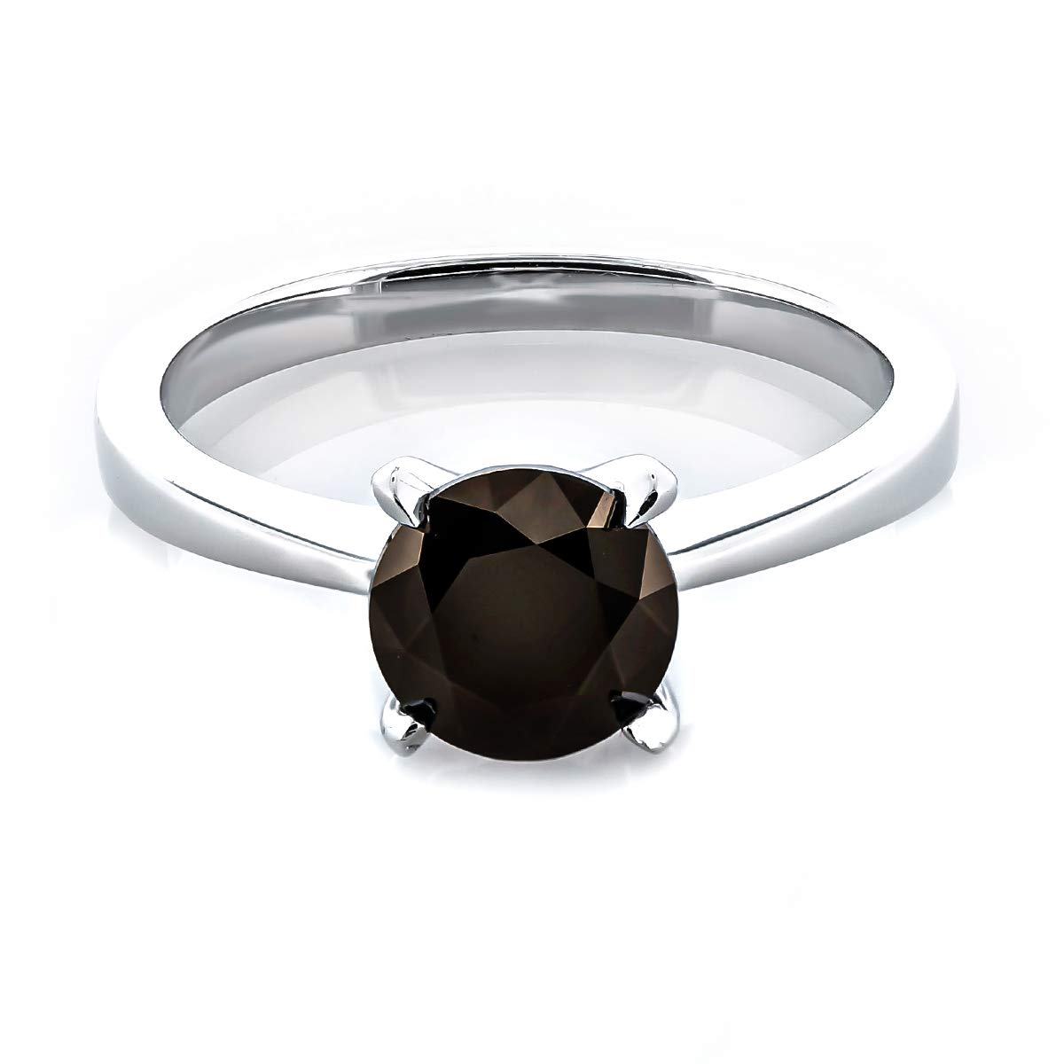 Baron Jewelry Platinum Plated .925 Sterling Silver 2 cttw Fancy Brown Round-Brilliant/_Shape Cubic Zirconia Solitaire Ring Made with Swarovski Zirconia
