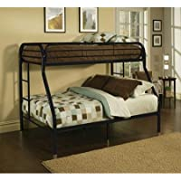 Twin Over Full Metal Bunk Bed, Multiple Colors (Black)