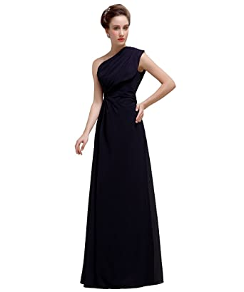 e3552076b394 YesDress Girls Casual Online Unique Chiffon One Shoulder Black Purple  Bridesmaid Dress Gown For Maid of Honor: Amazon.co.uk: Clothing