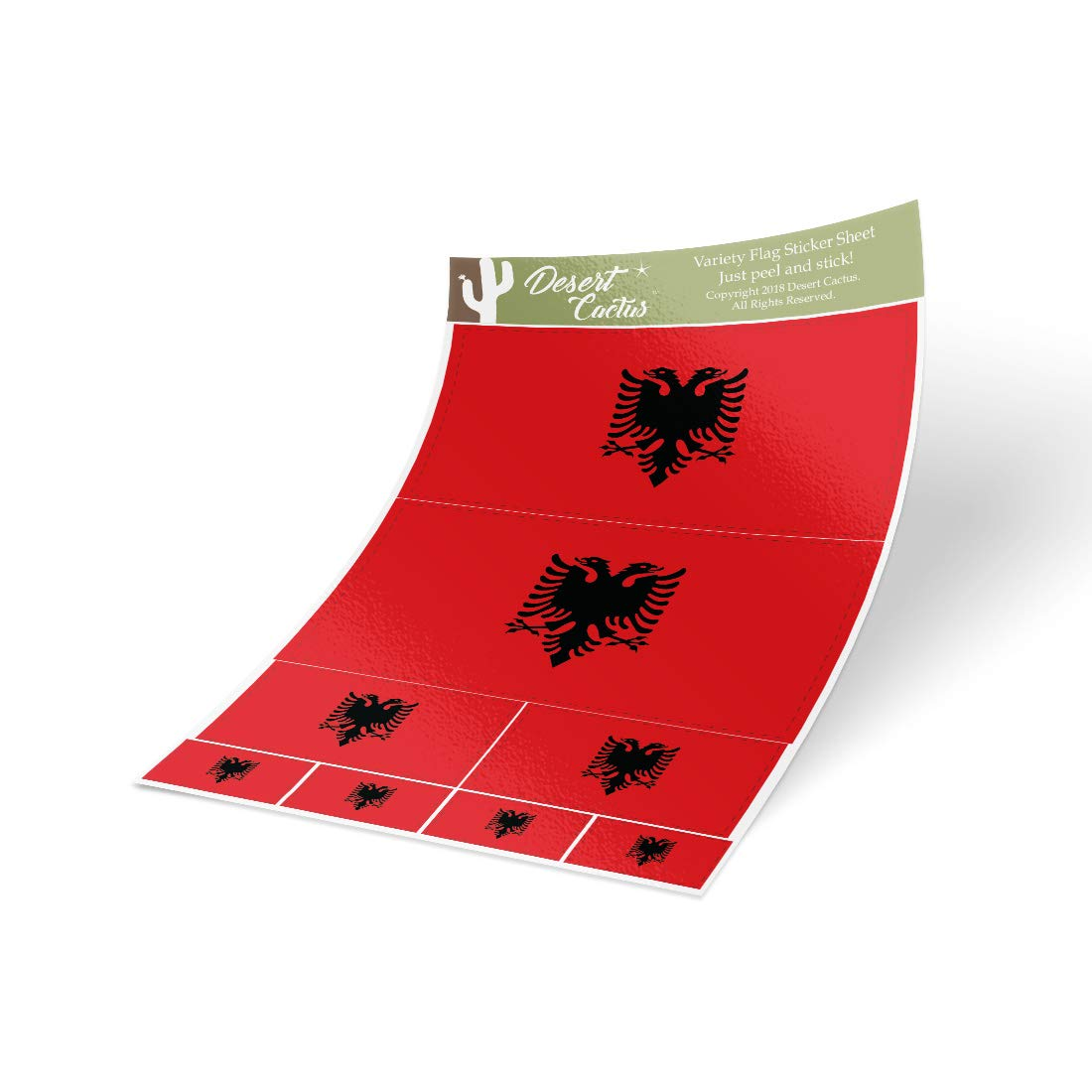 Desert Cactus Albania Country Flag Sticker Decal Variety Size Pack 8 Total Pieces Kids Logo Scrapbook Car Vinyl Window Bumper Laptop Albanian V