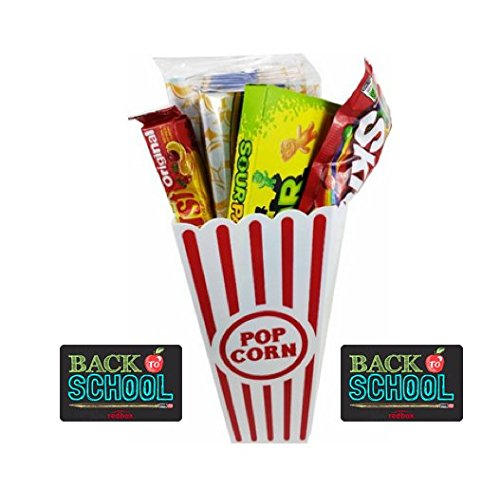 Back to School Movie Night Popcorn, Candy And Redbox Movie Gift Basket ~ Includes Movie Theater Butter Popcorn, Concession Stand Candy and a Gift Card for 2 Free Redbox Movie Rentals (Sour Patch Kids) ()