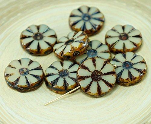 8pcs Picasso Ivory White Dark Travertine Table Cut Flower Flat Coin Czech Glass Beads (Czech Flower Beads)