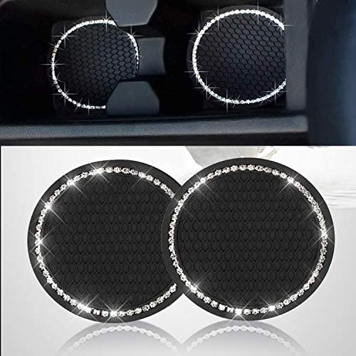 2PCS Bling Car Cup Coaster, Bling Car Accessories 2.75 inch,Rhinestone Anti Slip Insert Coaster, Suitable for All Car Interior