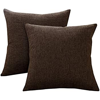 Sunday Praise Cotton-Linen Decorative Throw Pillow Covers,Classical Square Solid Color Pillow Cases,18x18 inches Cushion Covers for Sofa Couch Bed&Car,Pack of 2 (Coffee)