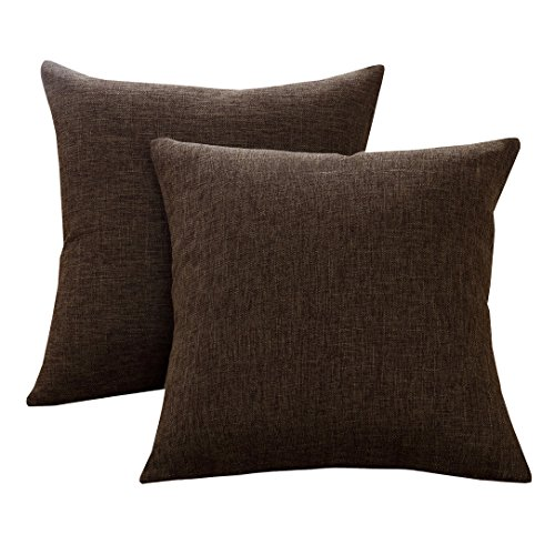 Chocolate Pillow Throw (Sunday Praise Cotton-Linen Decorative Throw Pillow Covers,Classical Square Solid Color Pillow Cases,18x18 inches Cushion Covers for Sofa Couch Bed&Car,Pack of 2 (coffee))