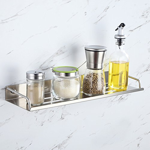 Bathroom Shelf Organizer with Rail, Angle Simple SUS304 Stainless Steel Shower Caddy Storage Rack, Kitchen Spice Shelf, Decorative Display Shelf, Shelf for Cabinet Over Shower Sink, Brushed Nickel by Angle Simple