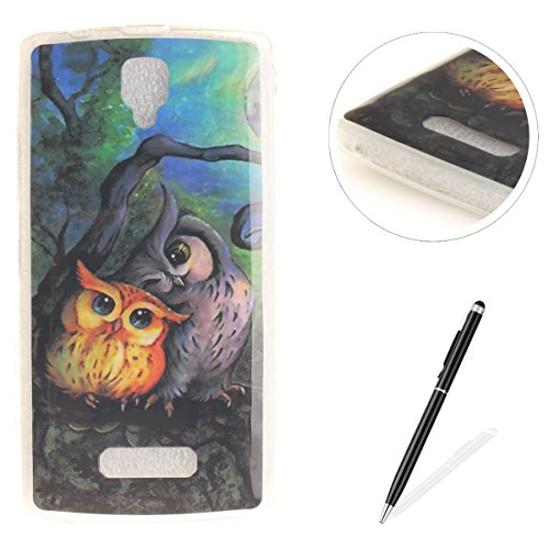 Lenovo A2010 Case MAGQI Shockproof Scratch Resistant Non Slip Ultra Slim Premium Soft TPU Silicone Bumper Lightweight Jelly Shell for Lenovo A2010 ? Oil painting owl