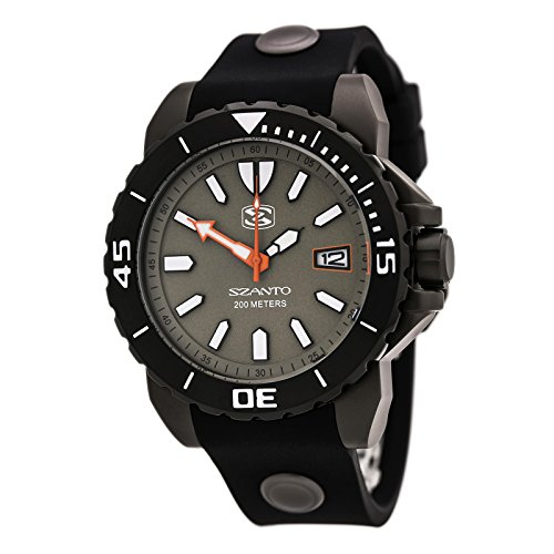 - Szanto Men's 5000 Series' Quartz Stainless Steel and Silicone Diving Watch, Color:Black (Model: SZ 5002)