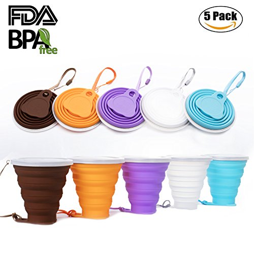 Collapsible Travel Cup, Certified BPA Free Silicone 9.22oz Drinking Mug with Lid - Water, Coffee, Coca Cola and Snacks for Hiking, Camping, Picnic(Mix color-5 Pcs)