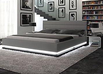 Polster Bett 200x200 Cm Grau Aus Kunstleder Mit Led Beleuchtung Am