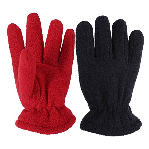 Navy Dark Red Children Kids 2Pairs Kids Boy Girl Thicken Fleece 45g For Extremely Cold Winter Gloves