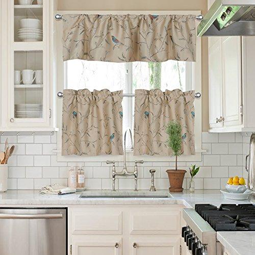 FlamingoP 3 Piece Kitchen Curtain Set : 1 Valance (W58XH15) , 2 Tiers  (W29XH24) ¨C Rod Pocket ¨C Birds Gray