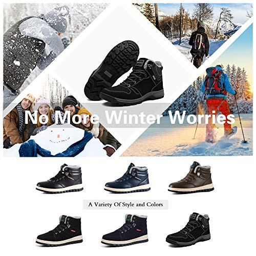 Doubles Lacets drapantes Confortables Womens Noir Anti De Randonne D'hiver Boots Entirement Fourrure Leather Bottes Neige Warm Marchant O40nwZz