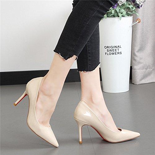 de M fina Zapatos blanco Xue marea con mujer alta la zapatos femenina simples de de consejos brillantes zapatos de luz Qiqi tacón a moda Bxgx5Rq