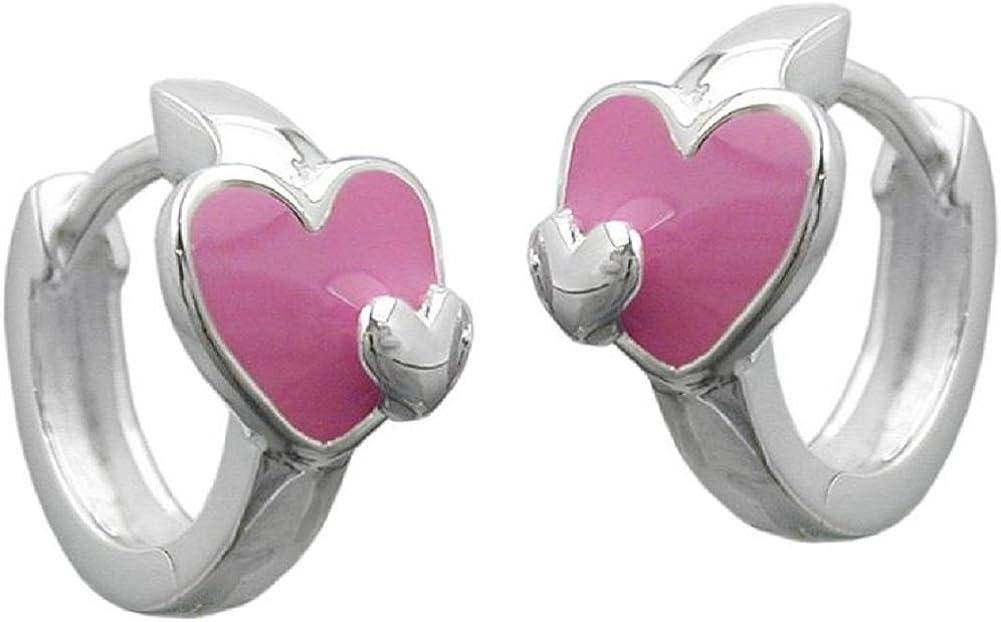 Pendientes de aro de joyas con corazón, Plata 925 G92537
