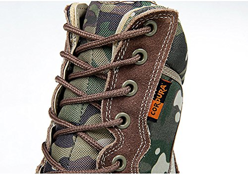 Worldshopping4U Hombres Ejército Militar Tactical Outdoor Sports Acampar Senderismo Trabajo Combat Lace Up Transpirable High Top Side Zipper Zapatos de Cuero del Desierto Botas MC(UK10=EUR44=US11)