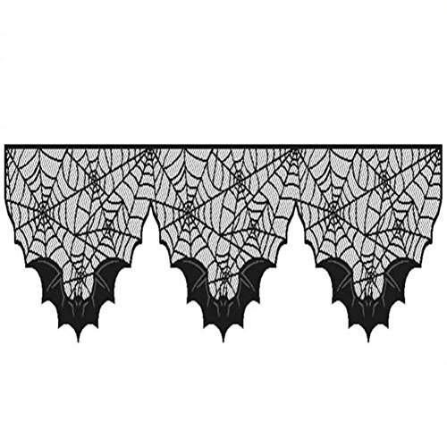 Ocamo 150X36CM Lace Spiderweb Bat Fireplace Mantel Cloth Scarf Halloween Home Decor for $<!--$4.71-->