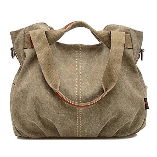 Vintage Casual Women Shoulder Bag(Khaki) - 5