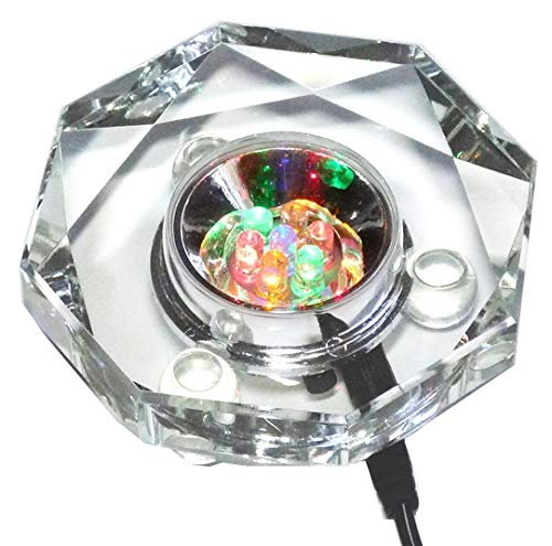 Amlong Crystal 7 LED Colored Lights Illuminated Octagon Crystal Display Stand