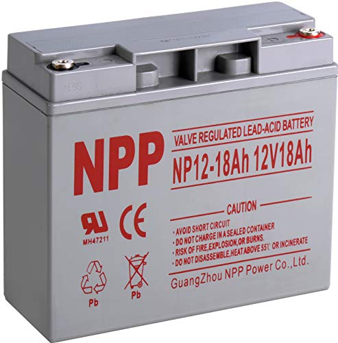 NPP 12V 18 Ah 12Volt 18 amp Rechargeable Sealed Lead Acid Battery for UPS Electric Scooter Wheelchair Generator with Button Terminals (Best Battery Powered Lawn Equipment)