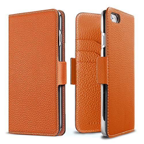 New BONAVENTURA Diary Magnet Leather Wallet Case [Compatible with iPhone 8/7, Orange] orange iphone 8 case 16