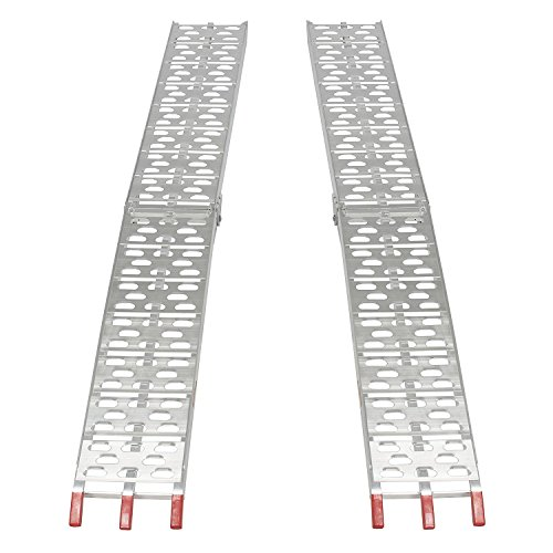 7.5Ft Pair Folding Loading Ramps Heavy Duty Arched Plate Top Lawnmower Motorcycle ATV/UTV Truck