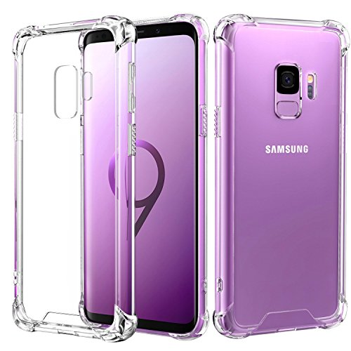 RKINC for Samsung S9, Crystal Clear Reinforced Corners Soft TPU Bumper Cushion + Hybrid Rugged Hard Transparent Panel Cover for Samsung Galaxy S9