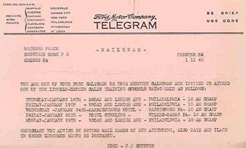 1940 Ford Factory Telegram To Dealer Lot Mailgram