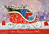 : Box set of 18 Holiday Christmas Cards: Merry Christmas- Gifts on Santas Sleigh- Warmest thoughts and best wishes