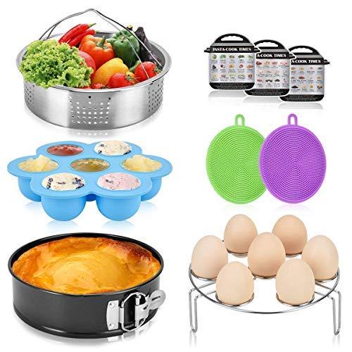 SPLF 9 Pcs Pressure Cooker Accessories Set, Compatible with Instant Pot 6 8 QT, Includes Steamer Basket, Springform Cake Pan, Egg Bites Mold, Eggs Rack, Silicone Dish Sponge, Cheat Sheet Magnets by SPLF (Image #1)