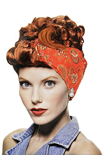 UHC Adult Riveter Updo Glamour Wig Curly Hair Halloween Costume Accessory (Red)