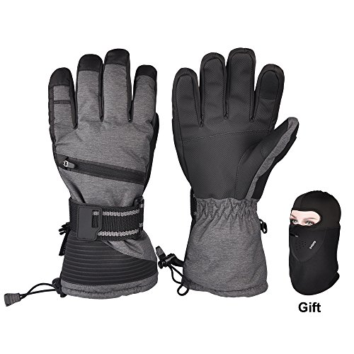 Ski Gloves, Winter Warmest 3M Insulation Waterproof Snow Gloves with Free Breathable Face Mask for Skiing, Snowboarding, Motorcycling,Cycling, Outdoor Sports, Men and Women