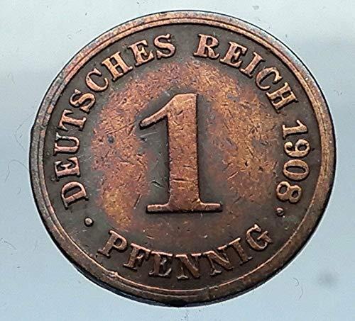 1908 unknown 1908 J GERMANY 1 Pfennig Antique German Empire Co coin Good
