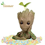 #2: Baby Groot Flowerpot with Water Beads, The Guardians of Galaxy Flower Pots Cute Baby Action Figures Model Toy Pen Pencil Holder PVC Planter