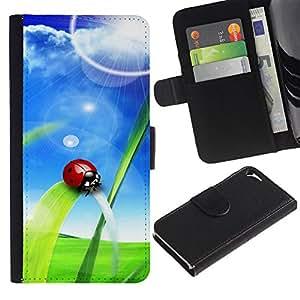 Ihec-Tech / Flip PU Cuero Cover Case para Apple Iphone 5 / 5S - Ladybug Sun