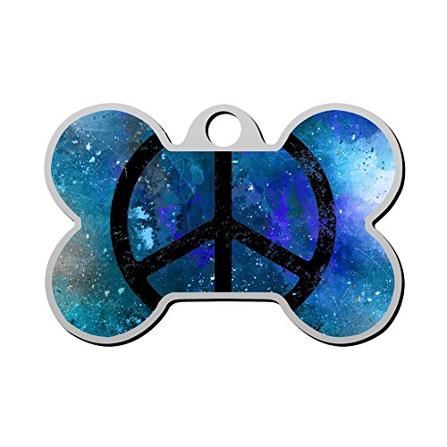 Print Stainless Steel Anti-allergic Peace Sign Pet ID Dog Tag, Customizable Information Pet Badge for Dogs Cats