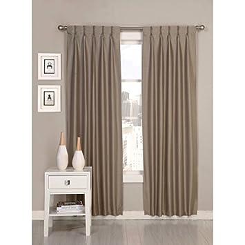 2 piece 84 inch desert taupe pinch pleat curtains pair panel set grey beige puckered