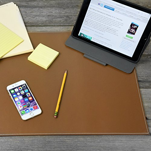 Desk Pad Blotter Protector Comfortable with Faux Leather Feels Smooth and Sturdy with Velvet Bottom. Color Brown (Tan) (Size 16 x 24)