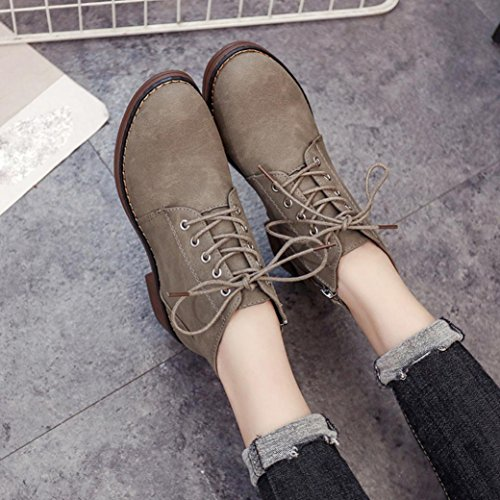 Lady Martin Khaki Heels Women's Boots Boots Lace Flat Ankle KaiCran Ankle for up for Boots girls fSxdR1cw