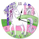 made in usa wood clock - Stupell Industries Unicorn and Her Castle Vanity Clock, Proudly Made in USA