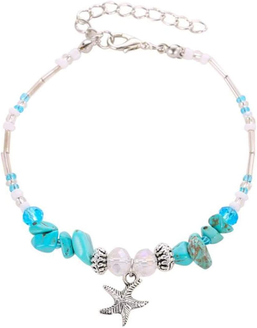 Beiswe Boho Style Turquoise Beaded Ankle Bracelet Starfish Shell Charm Anklet Beach Foot Jewellery Accessories